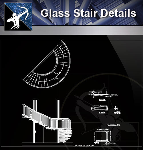 【Stair Details】Glass Stair Detail - Architecture Autocad Blocks,CAD Details,CAD Drawings,3D Models,PSD,Vector,Sketchup Download