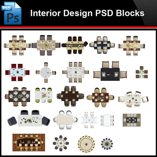 ★Photoshop PSD Blocks-Interior Design PSD Blocks-Table PSD Blocks - Architecture Autocad Blocks,CAD Details,CAD Drawings,3D Models,PSD,Vector,Sketchup Download