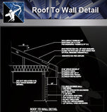 【Roof Details】Free Roof To Wall Detail - Architecture Autocad Blocks,CAD Details,CAD Drawings,3D Models,PSD,Vector,Sketchup Download