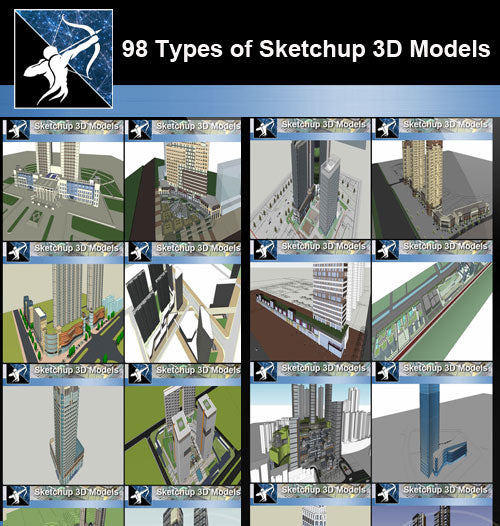 ★Total 98 Types of Commercial,Residential Building Sketchup 3D Models Collection(Best Recommanded!!) - Architecture Autocad Blocks,CAD Details,CAD Drawings,3D Models,PSD,Vector,Sketchup Download
