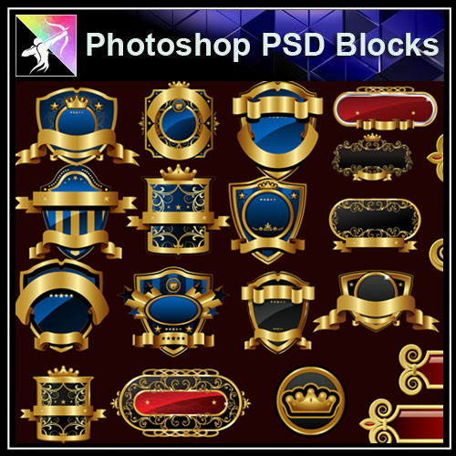 【Photoshop PSD Blocks】Gold Decorative Borders 6 - Architecture Autocad Blocks,CAD Details,CAD Drawings,3D Models,PSD,Vector,Sketchup Download