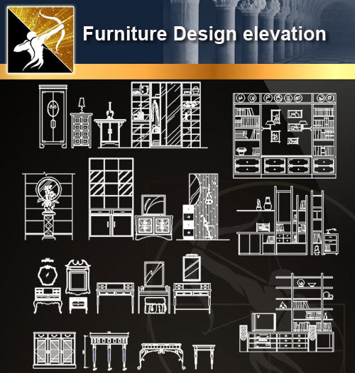 ★Furniture Design elevation - Architecture Autocad Blocks,CAD Details,CAD Drawings,3D Models,PSD,Vector,Sketchup Download