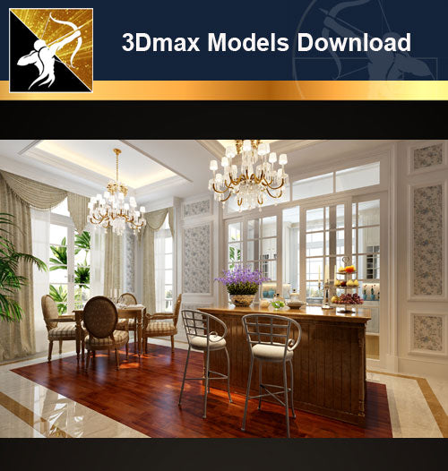 ★Download 3D Max Decoration Models -Dining Room V.10 - Architecture Autocad Blocks,CAD Details,CAD Drawings,3D Models,PSD,Vector,Sketchup Download
