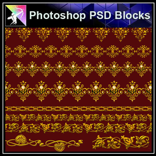 【Photoshop PSD Blocks】Gold Decorative Borders 7 - Architecture Autocad Blocks,CAD Details,CAD Drawings,3D Models,PSD,Vector,Sketchup Download