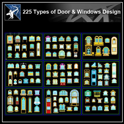 ★【225 Types of Door & Window Design CAD Drawings】