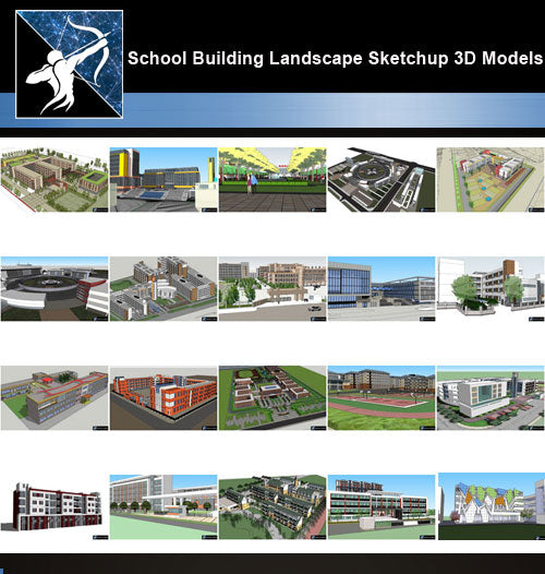 ★Best 20 Types of School Sketchup 3D Models Collection V.3 - Architecture Autocad Blocks,CAD Details,CAD Drawings,3D Models,PSD,Vector,Sketchup Download