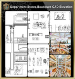 ★【Shopping Centers,Store CAD Design Elevation,Details Elevation Bundle】V.4@Shopping centers, department stores, boutiques, clothing stores, women's wear, men's wear, store design-Autocad Blocks,Drawings,CAD Details,Elevation