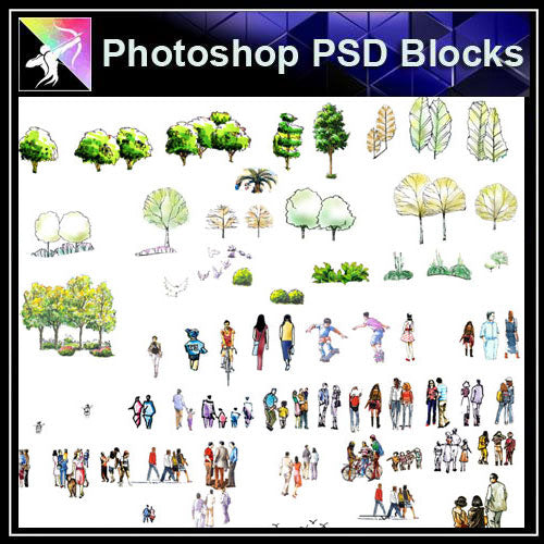 【Photoshop PSD Landscape Blocks】 People plan,elevation Blocks - Architecture Autocad Blocks,CAD Details,CAD Drawings,3D Models,PSD,Vector,Sketchup Download