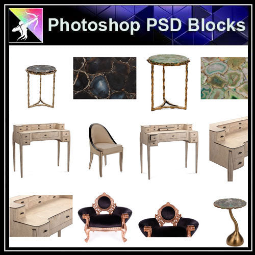 【Photoshop PSD Blocks】Luxury Furniture PSD Blocks 1 - Architecture Autocad Blocks,CAD Details,CAD Drawings,3D Models,PSD,Vector,Sketchup Download