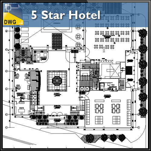 【Architecture CAD Projects】5 Star Hotel In the city