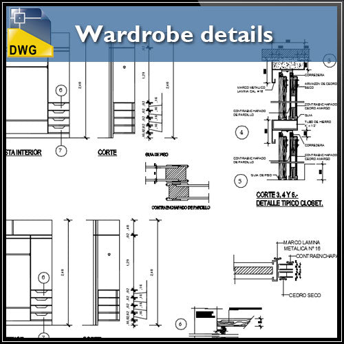 【Interior Design CAD Drawings】@Wardrobe detail and section dwg files V.3
