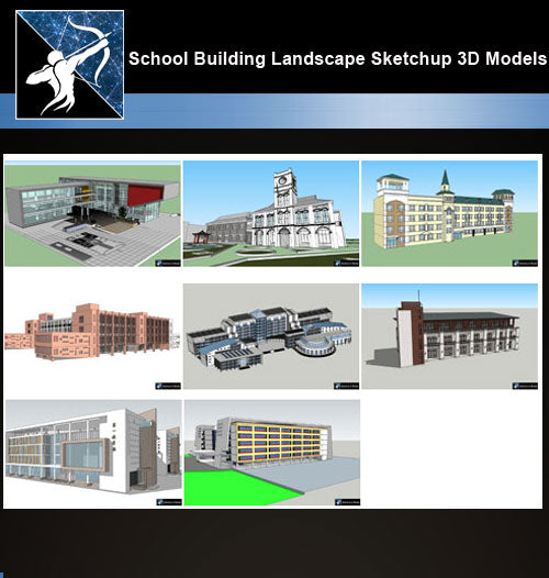 ★Best 8 Types of School Sketchup 3D Models Collection V.9