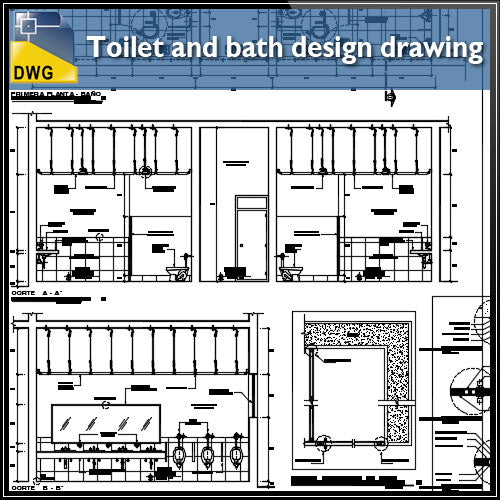 【CAD Details】Detail drawing of Toilet and Bath design CAD Drawing - Architecture Autocad Blocks,CAD Details,CAD Drawings,3D Models,PSD,Vector,Sketchup Download