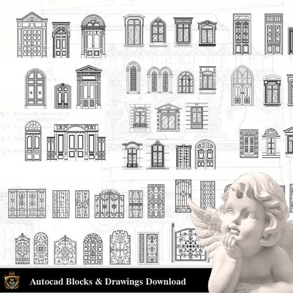 Architectural Decoration Elements CAD Blocks Bundle V.6-Door and Windows - Architecture Autocad Blocks,CAD Details,CAD Drawings,3D Models,PSD,Vector,Sketchup Download