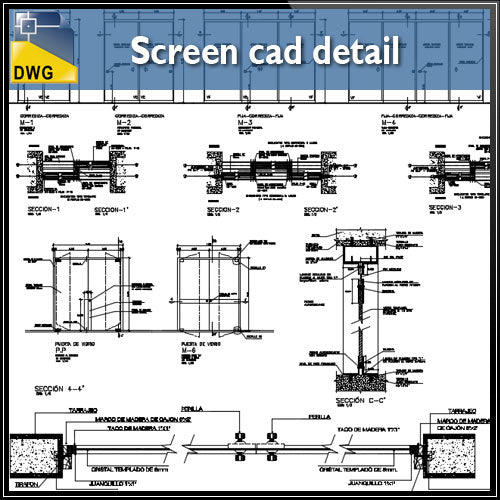 【CAD Details】Screen CAD Details - Architecture Autocad Blocks,CAD Details,CAD Drawings,3D Models,PSD,Vector,Sketchup Download