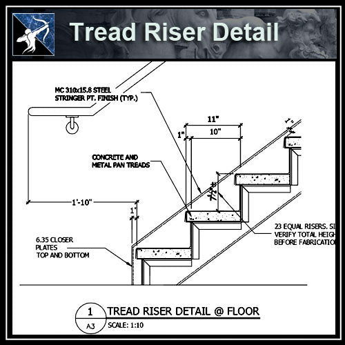 ★Free CAD Details-Tread Riser Detail @ Floor - Architecture Autocad Blocks,CAD Details,CAD Drawings,3D Models,PSD,Vector,Sketchup Download