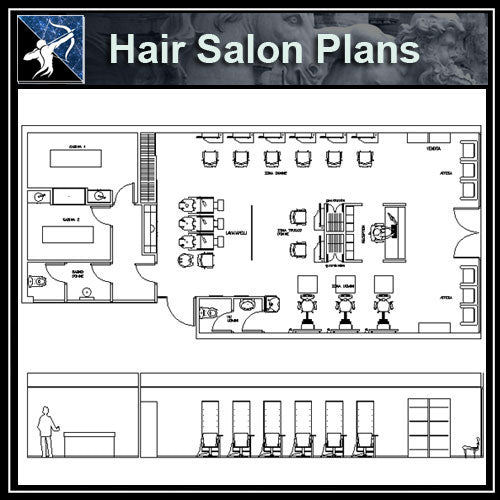 【Architecture CAD Projects】Hair Salon CAD plan CAD Blocks - Architecture Autocad Blocks,CAD Details,CAD Drawings,3D Models,PSD,Vector,Sketchup Download