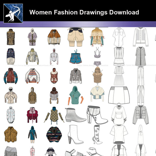 ★Women Fashion Drawings Download  V.1-Women Dresses,Tops,Skirts,Shoes Design Drawings