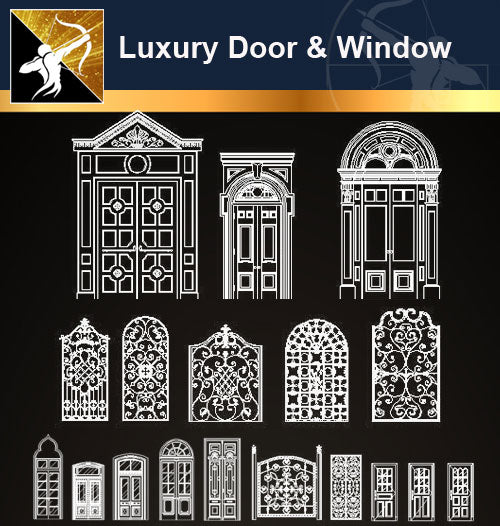 Luxury Door & Window CAD Drawings - Architecture Autocad Blocks,CAD Details,CAD Drawings,3D Models,PSD,Vector,Sketchup Download