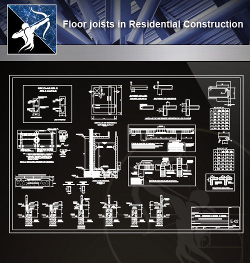 【 Floor Details】Floor joists in Residential Construction - Architecture Autocad Blocks,CAD Details,CAD Drawings,3D Models,PSD,Vector,Sketchup Download