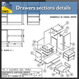 【CAD Details】Drawers sections detail in autocad dwg files