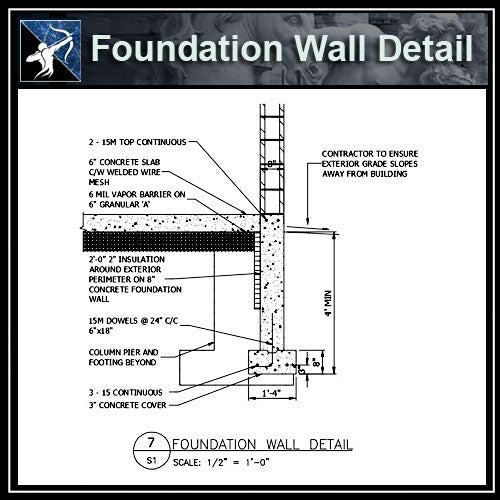 ★Free CAD Details-Foundation Wall Detail - Architecture Autocad Blocks,CAD Details,CAD Drawings,3D Models,PSD,Vector,Sketchup Download