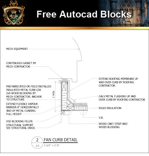★Free CAD Details-Fan Curb Detail
