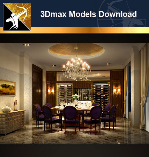 ★Download 3D Max Decoration Models -Dining Room V.15 - Architecture Autocad Blocks,CAD Details,CAD Drawings,3D Models,PSD,Vector,Sketchup Download