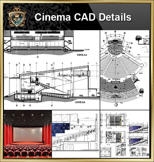 ★【Cinema CAD Drawings Collection V2】@Cinema Design,Autocad Blocks,Cinema Details,Cinema Section,Cinema elevation design drawings