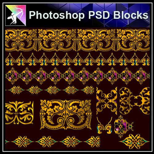 【Photoshop PSD Blocks】Gold Decorative Borders 5 - Architecture Autocad Blocks,CAD Details,CAD Drawings,3D Models,PSD,Vector,Sketchup Download
