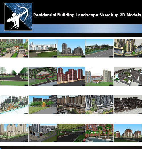 ★Best 20 Types of Residential Building Landscape Sketchup 3D Models Collection V.4 - Architecture Autocad Blocks,CAD Details,CAD Drawings,3D Models,PSD,Vector,Sketchup Download