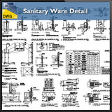 【CAD Details】Sanitary Ware CAD Details - Architecture Autocad Blocks,CAD Details,CAD Drawings,3D Models,PSD,Vector,Sketchup Download