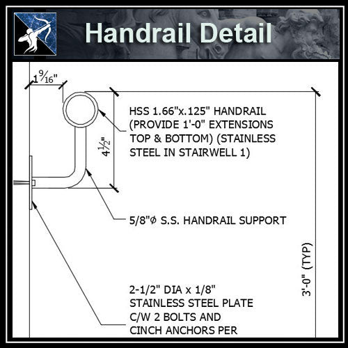 ★Free CAD Details-Handrail Detail (@ Wall) - Architecture Autocad Blocks,CAD Details,CAD Drawings,3D Models,PSD,Vector,Sketchup Download