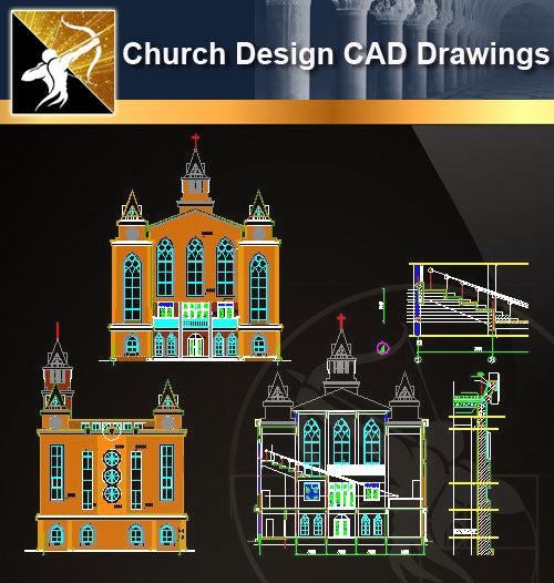 Church Design CAD Drawings 3 - Architecture Autocad Blocks,CAD Details,CAD Drawings,3D Models,PSD,Vector,Sketchup Download