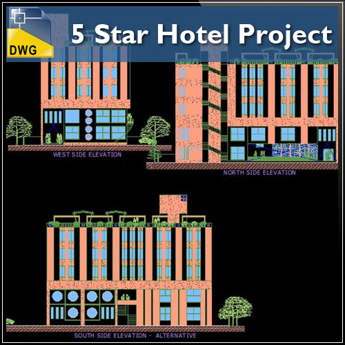 【Architecture CAD Projects】5 Star Hotel Project CAD Drawings - Architecture Autocad Blocks,CAD Details,CAD Drawings,3D Models,PSD,Vector,Sketchup Download