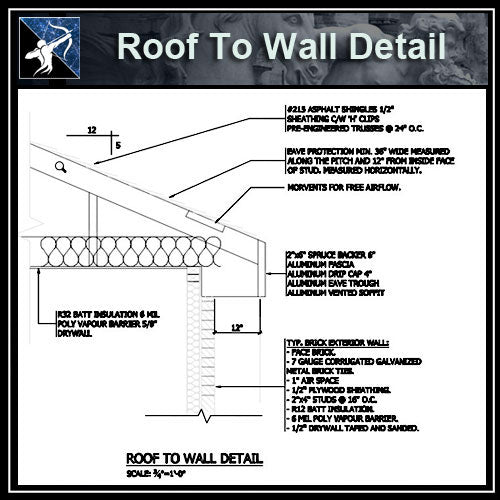 ★Free CAD Details-Roof To Wall Detail