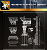 Free CAD Architecture Decoration Elements 4 - Architecture Autocad Blocks,CAD Details,CAD Drawings,3D Models,PSD,Vector,Sketchup Download