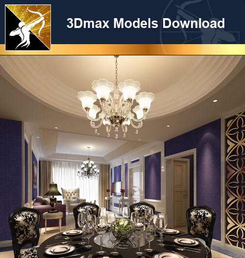 ★Download 3D Max Decoration Models -Dining Room V.8 - Architecture Autocad Blocks,CAD Details,CAD Drawings,3D Models,PSD,Vector,Sketchup Download