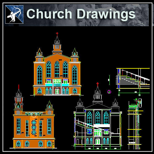 【Architecture CAD Projects】Church Architecture Design CAD Blocks,Plans,Layout V3