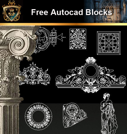 ★Free CAD Blocks-Architecture Decorative Elements V.8 - Architecture Autocad Blocks,CAD Details,CAD Drawings,3D Models,PSD,Vector,Sketchup Download
