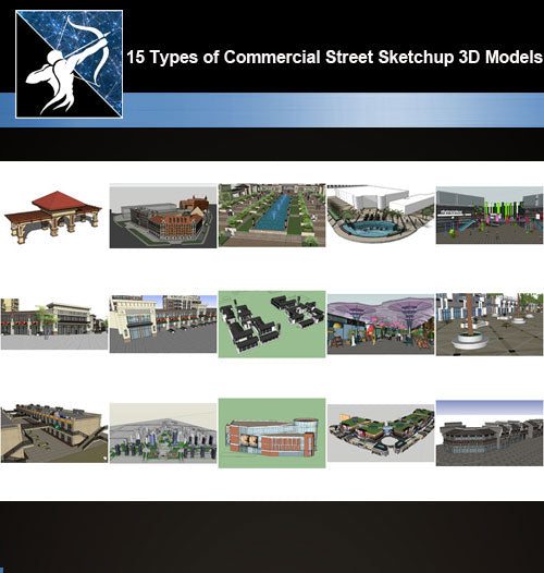★Best 15 Types of Commercial Street Design Sketchup 3D Models Collection V.4 - Architecture Autocad Blocks,CAD Details,CAD Drawings,3D Models,PSD,Vector,Sketchup Download