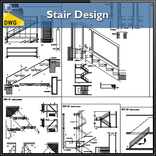 【CAD Details】Stair Design CAD Details - Architecture Autocad Blocks,CAD Details,CAD Drawings,3D Models,PSD,Vector,Sketchup Download