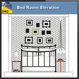 【Interior Design CAD Drawings】@Bed Room Elevation design CAD Drawings - Architecture Autocad Blocks,CAD Details,CAD Drawings,3D Models,PSD,Vector,Sketchup Download