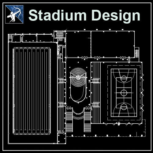 【Architecture CAD Projects】Stadium Design-Swimming pool CAD Blocks,Plans,Layout V5