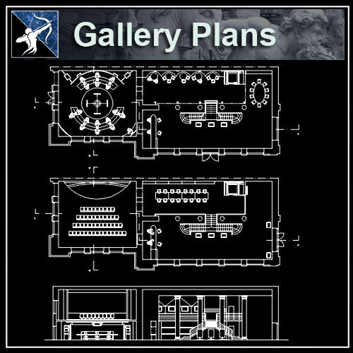 【Architecture CAD Projects】Exhibitions,Gallery Plan Design CAD Drawings Collection