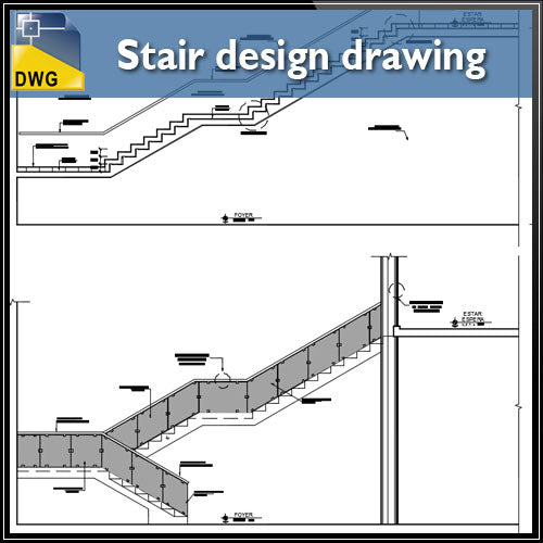 【CAD Details】Detail drawing of stair design CAD drawing