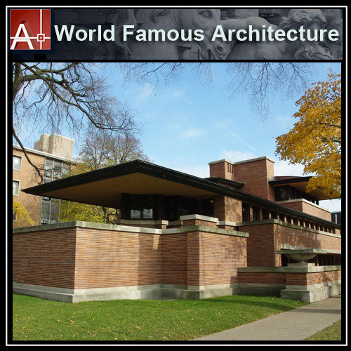 【Famous Architecture Project】Frank lloyd wright- Robie house-Architectural CAD Drawings - Architecture Autocad Blocks,CAD Details,CAD Drawings,3D Models,PSD,Vector,Sketchup Download
