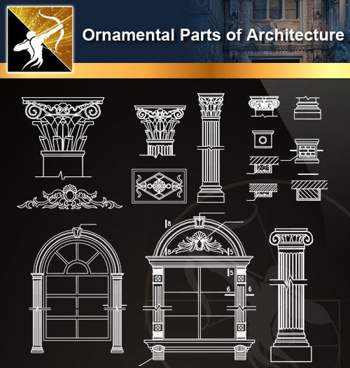 Ornamental Parts of Architecture 8 - Architecture Autocad Blocks,CAD Details,CAD Drawings,3D Models,PSD,Vector,Sketchup Download