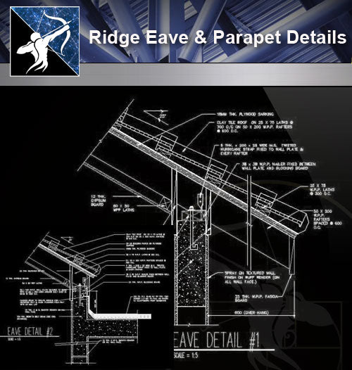 【Roof Details】Ridge Eave & Parapet Details - Architecture Autocad Blocks,CAD Details,CAD Drawings,3D Models,PSD,Vector,Sketchup Download