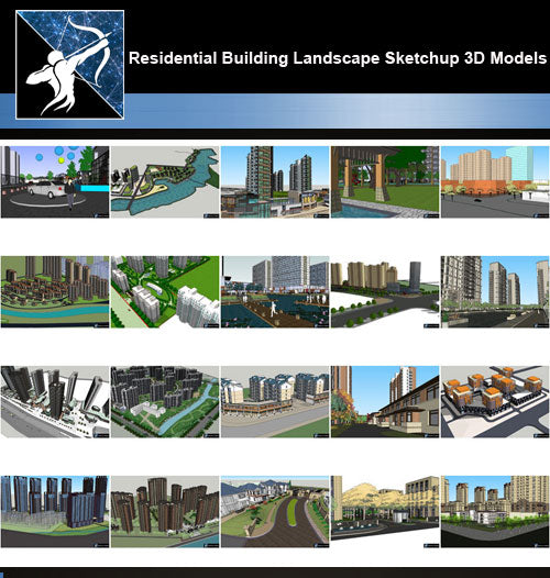 ★Best 20 Types of Residential Building Landscape Sketchup 3D Models Collection V.2 - Architecture Autocad Blocks,CAD Details,CAD Drawings,3D Models,PSD,Vector,Sketchup Download